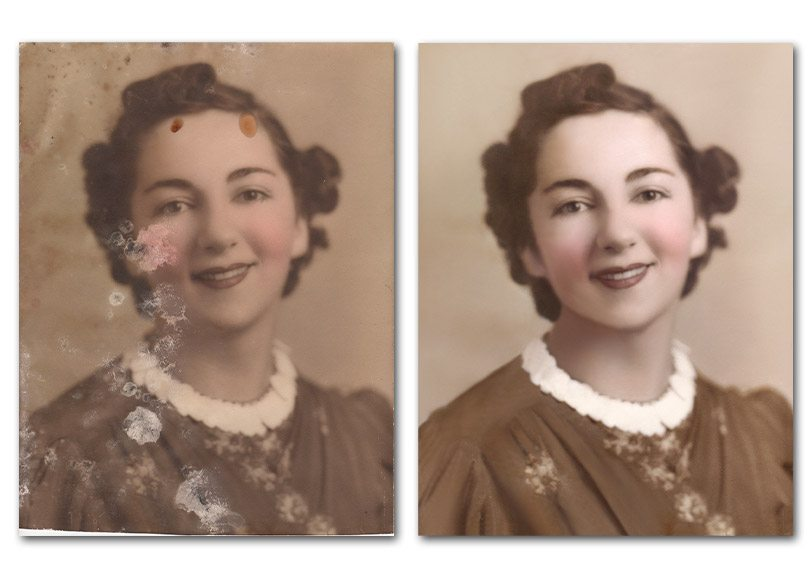 Photo Restoration of mold on old photographs
