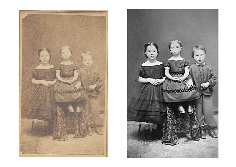 Restored faded image, reconstructed image detail