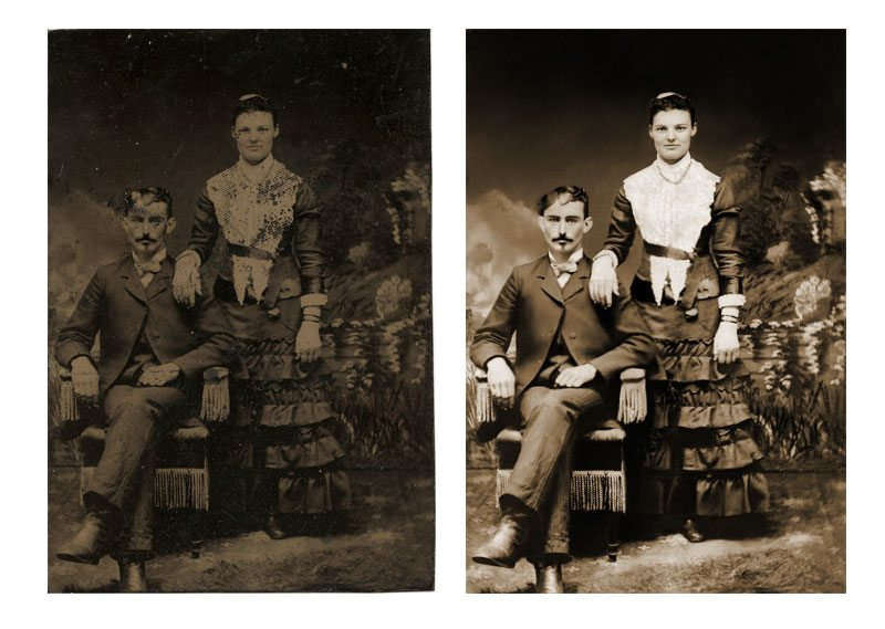 Eliminated stains, restored faded image, reconstructed image detail