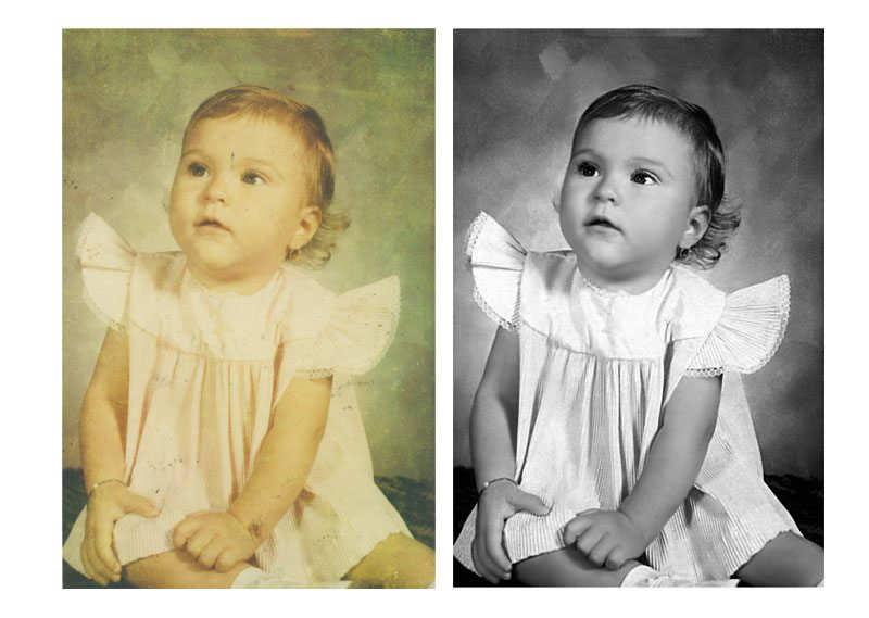 Photo Restoration discolored photo converted to B&W
